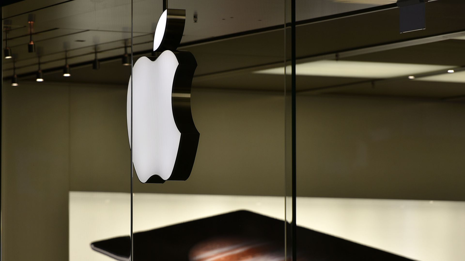 The Apple logo is pictured at the Apple store in Oberhausen, Germany.