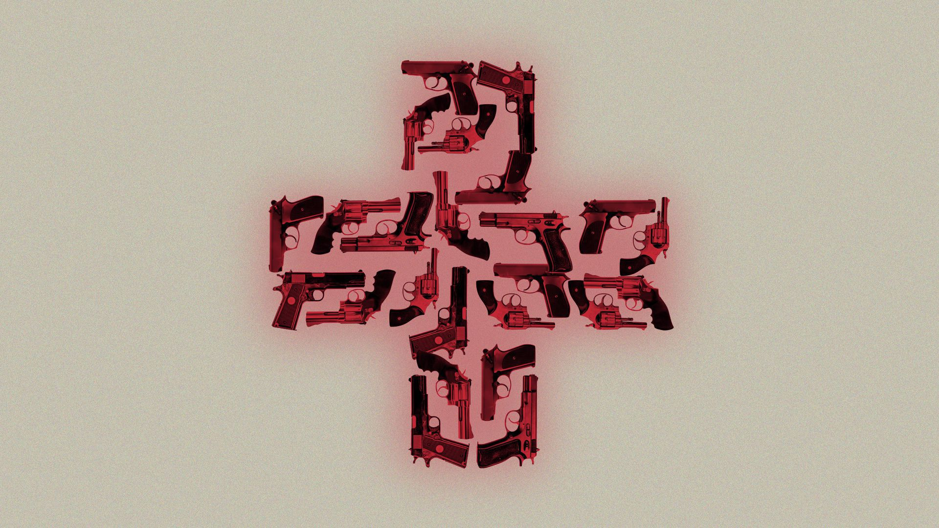 Red first aid cross made out of guns