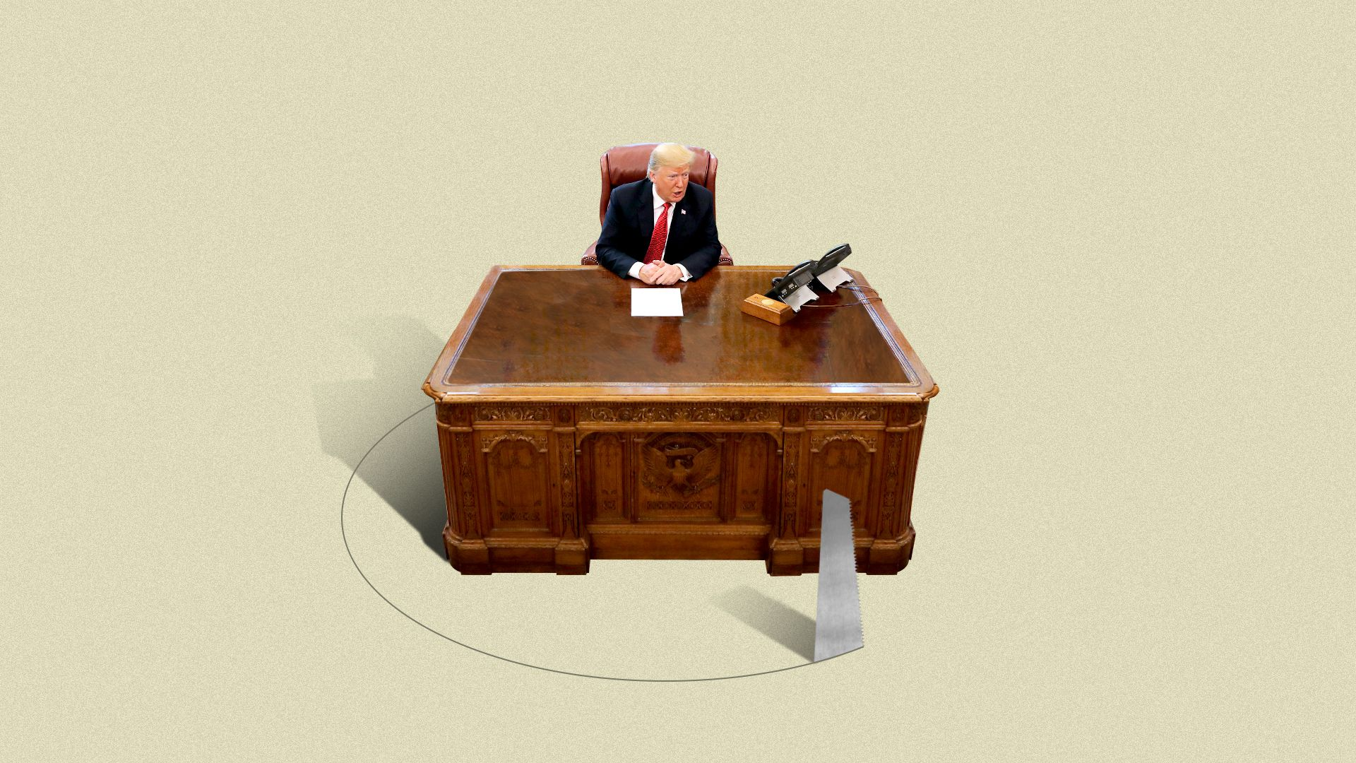Illustration of President Trump sitting at his desk, a saw is cutting a circle around the desk. Illustration of President Trump sitting at his desk, a saw is cutting a circle around the desk.
