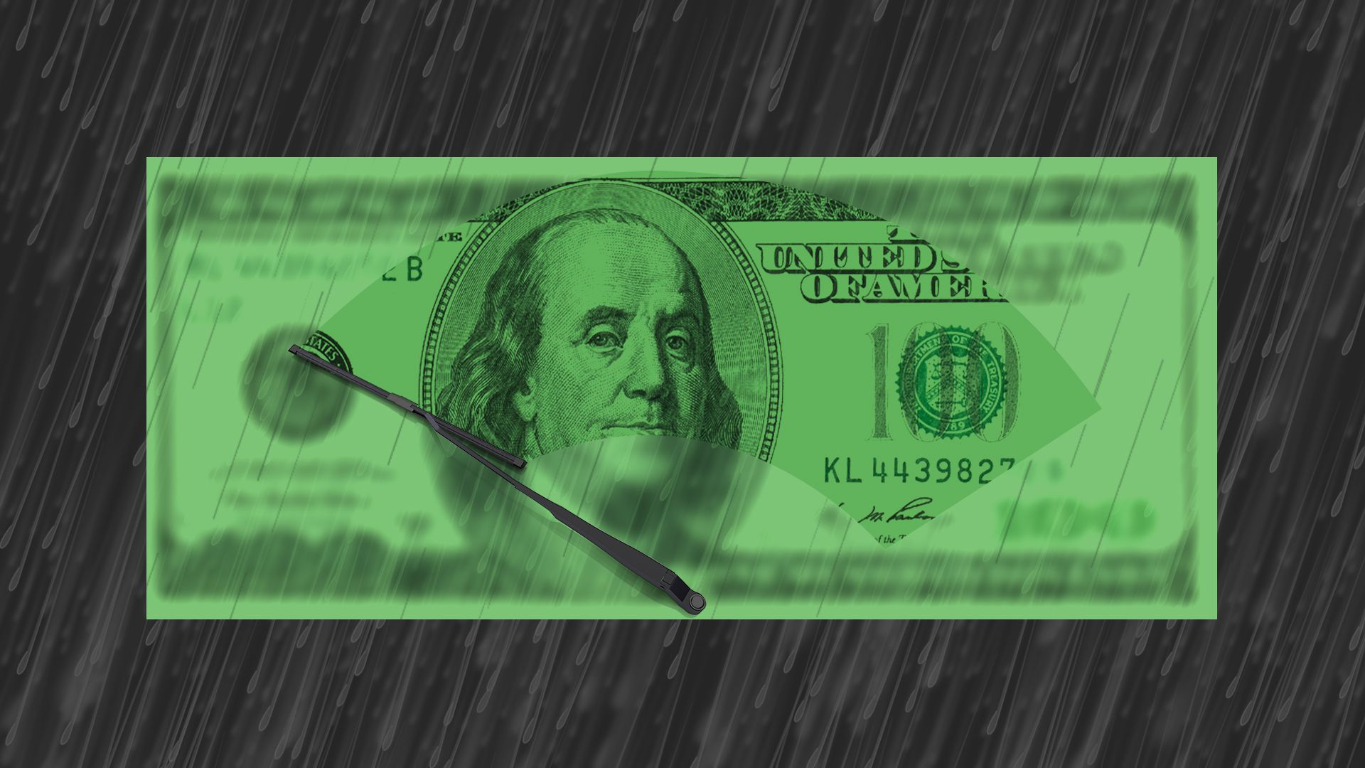 Illustration of a hundred dollar bill in the rain with the rain on the bill being wiped away.