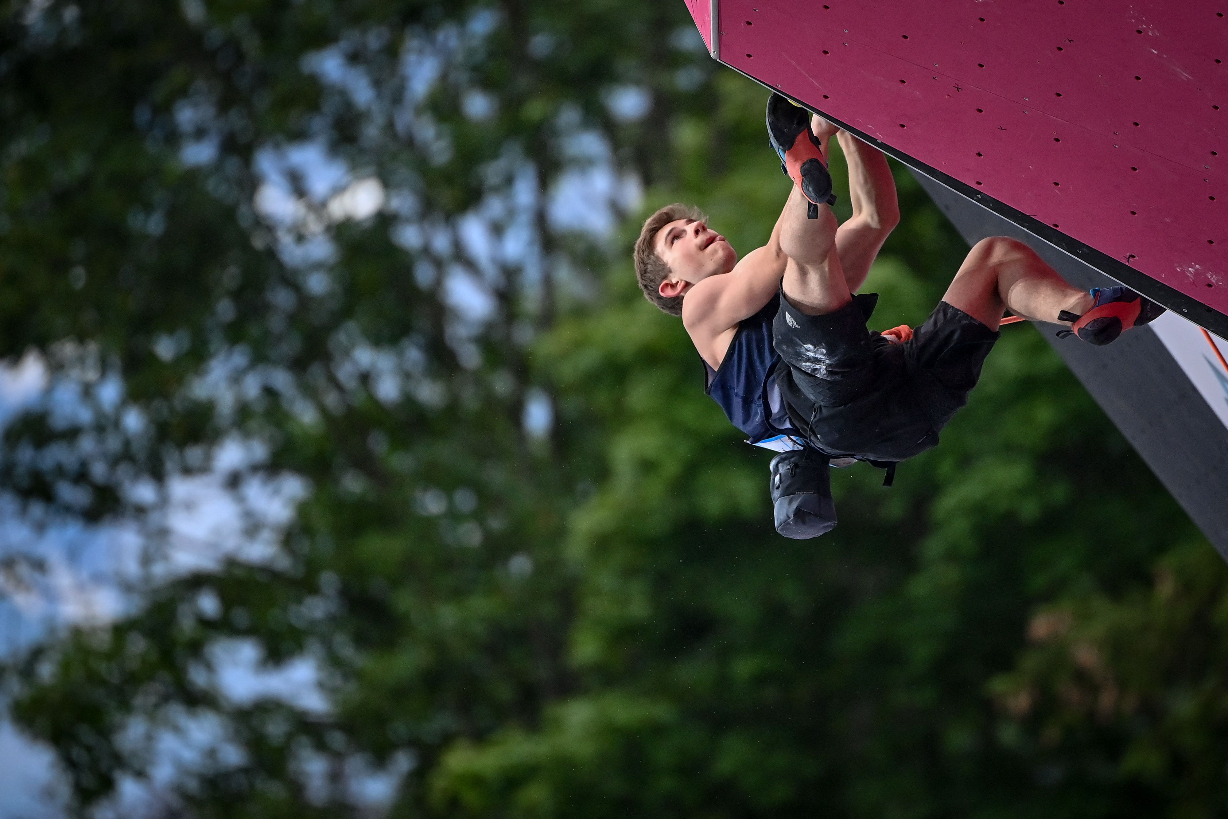 Colin Duffy competes at the Climbing IFSC World Cup in July.