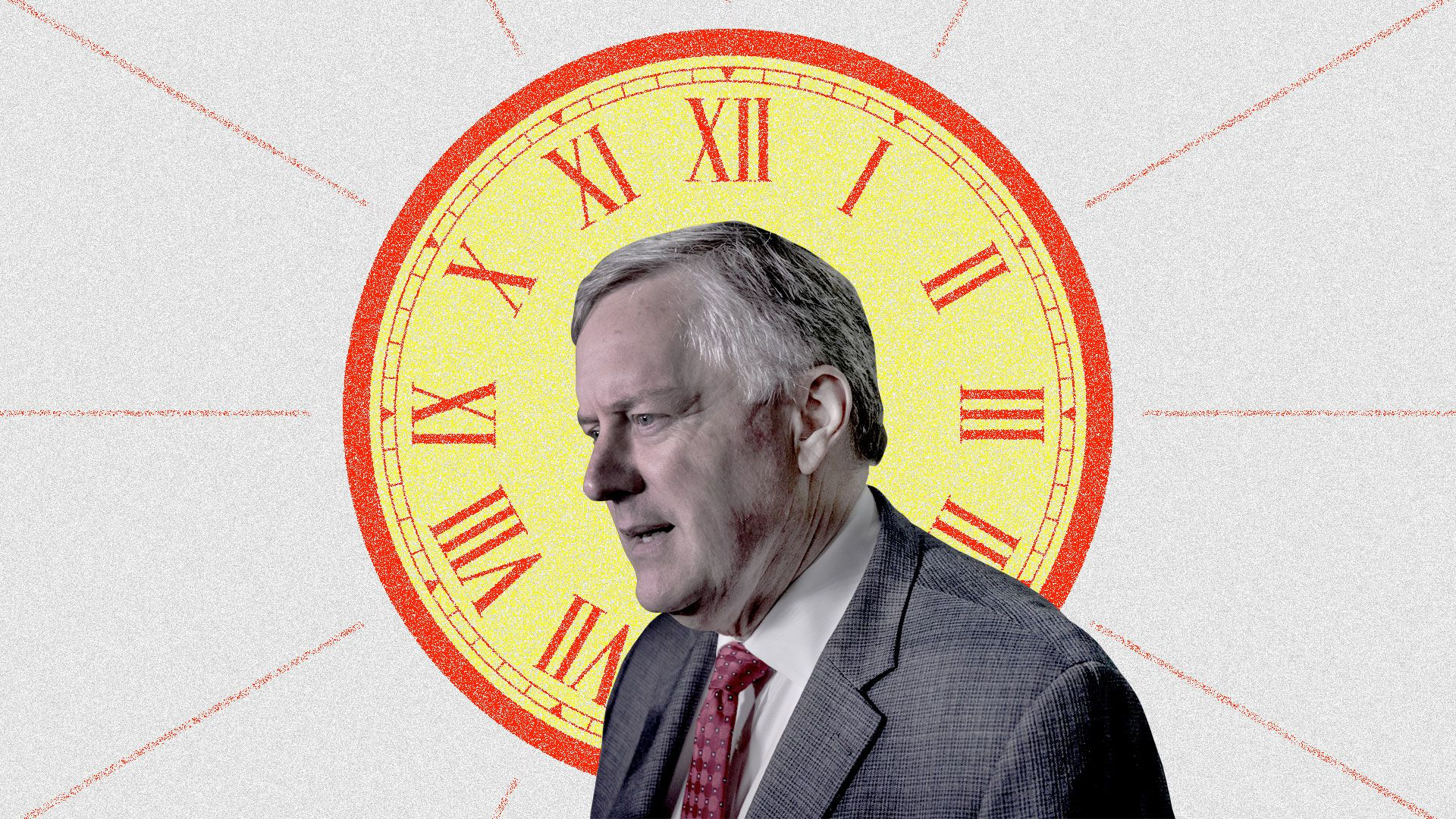 Mark Meadows in front of a giant clock.