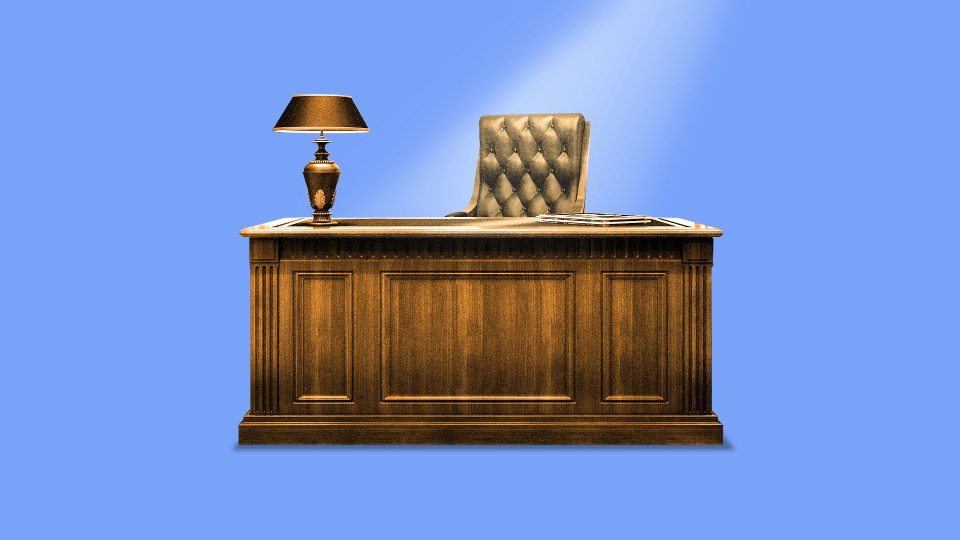 Illustration of an empty executive's desk with a light shining down from above.