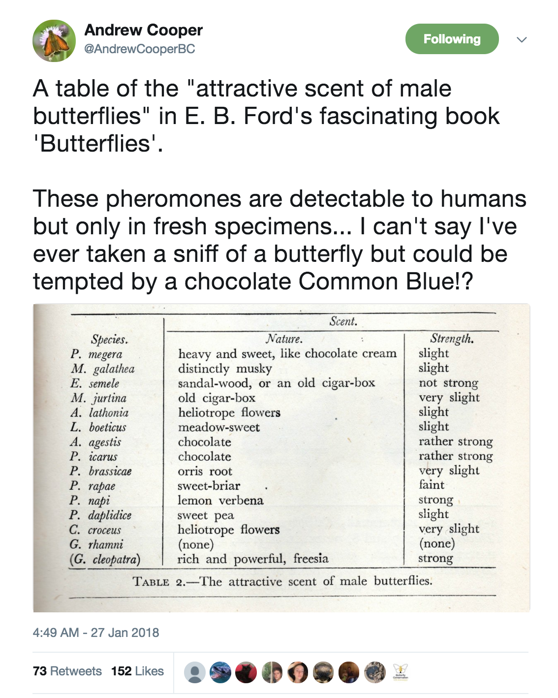 Screenshot of tweet by Andrew Cooper on butterfly smells