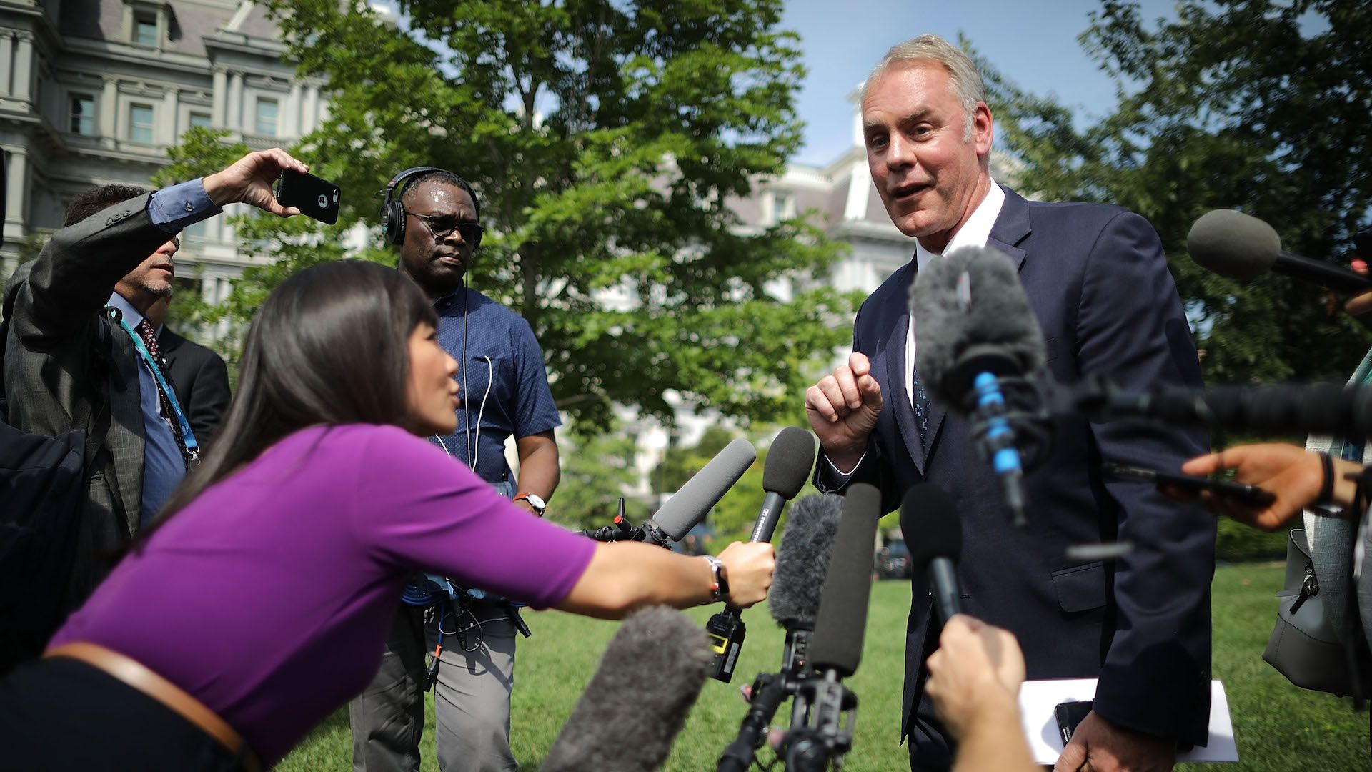 Interior Secretary Ryan Zinke discusses wildfires with press at the White House.