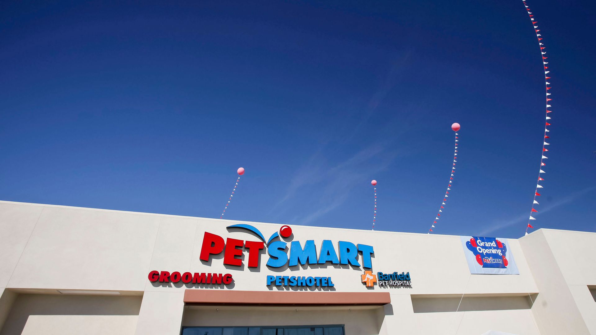 PetSmart store with balloons in the air.