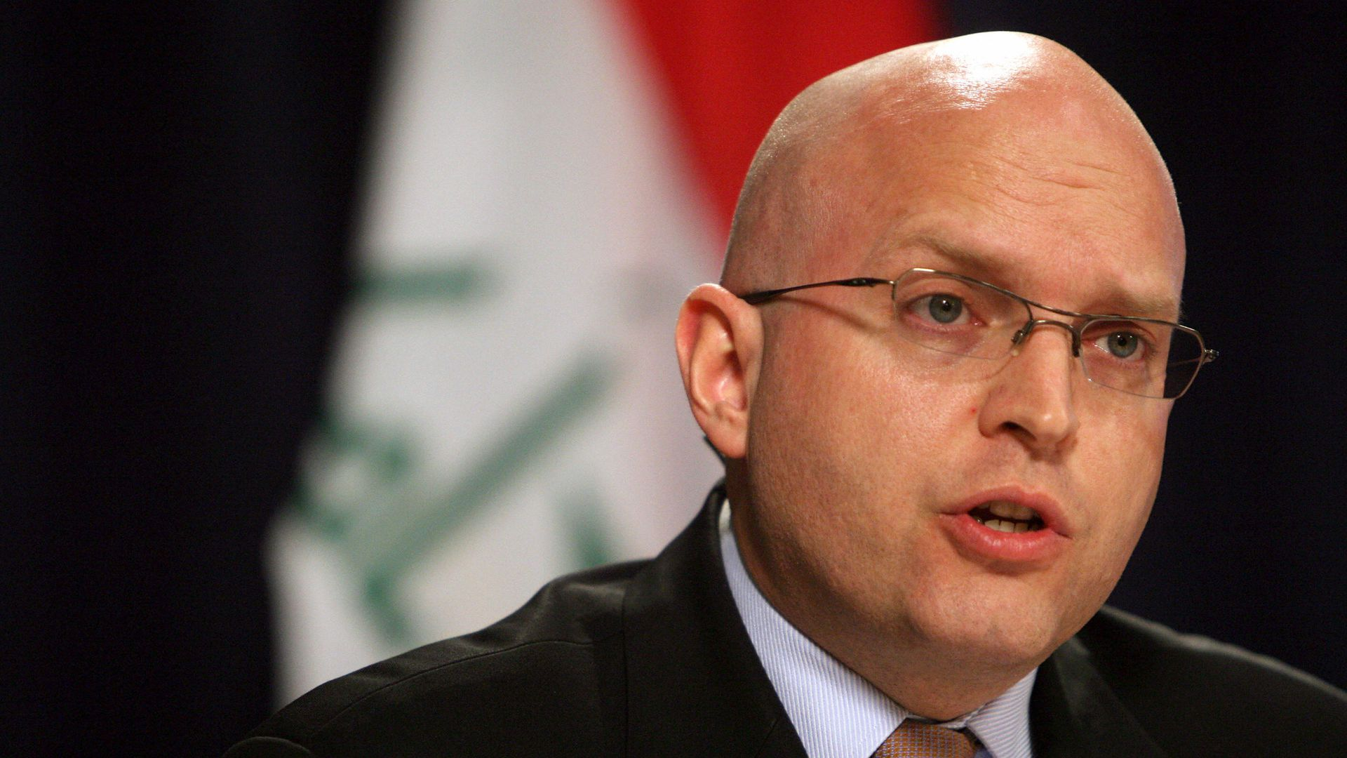 Phil Reeker, US Embassy in Iraq spokesman, speaks during a joint press conference.