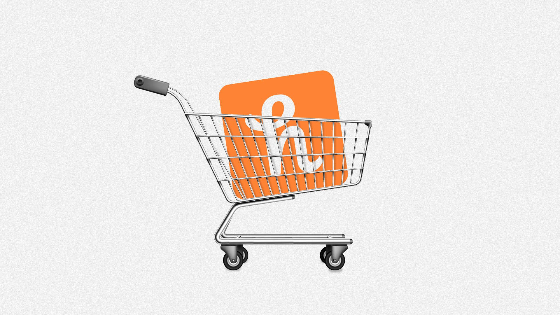 Illustration of shopping cart carrying Honey icon.