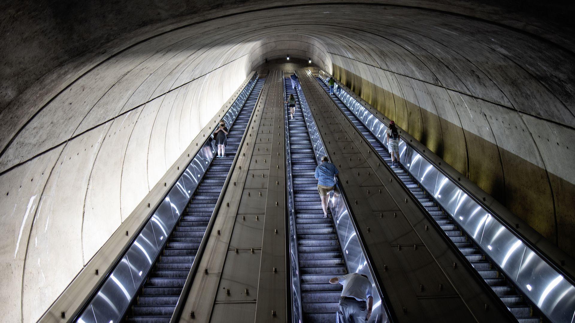 A Metrorail station escalator
