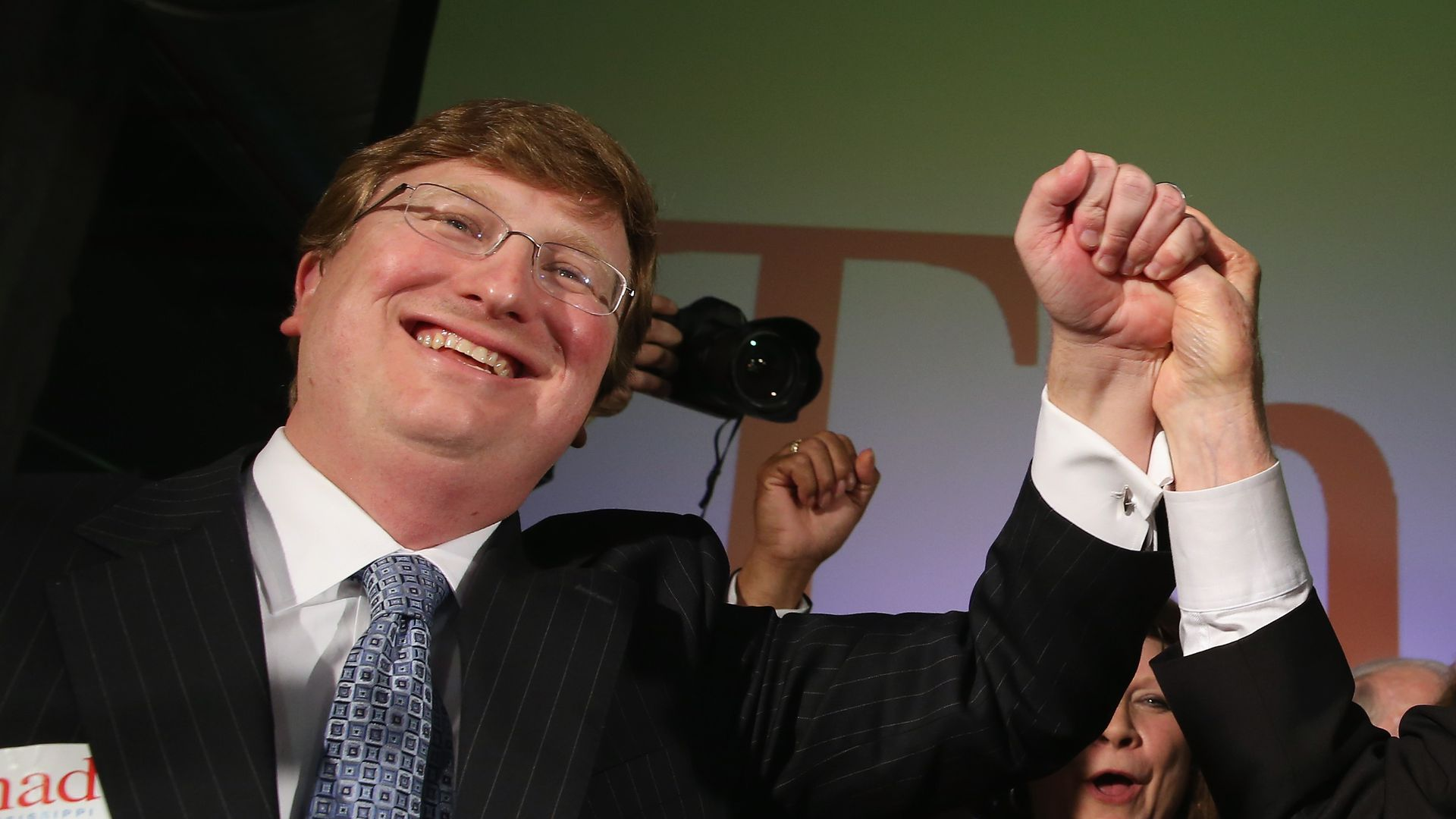 U.S. Sen. Thad Cochran (R) (R-MS) and Mississippi Lieutenant Governor Tate Reeves (L) celebrate