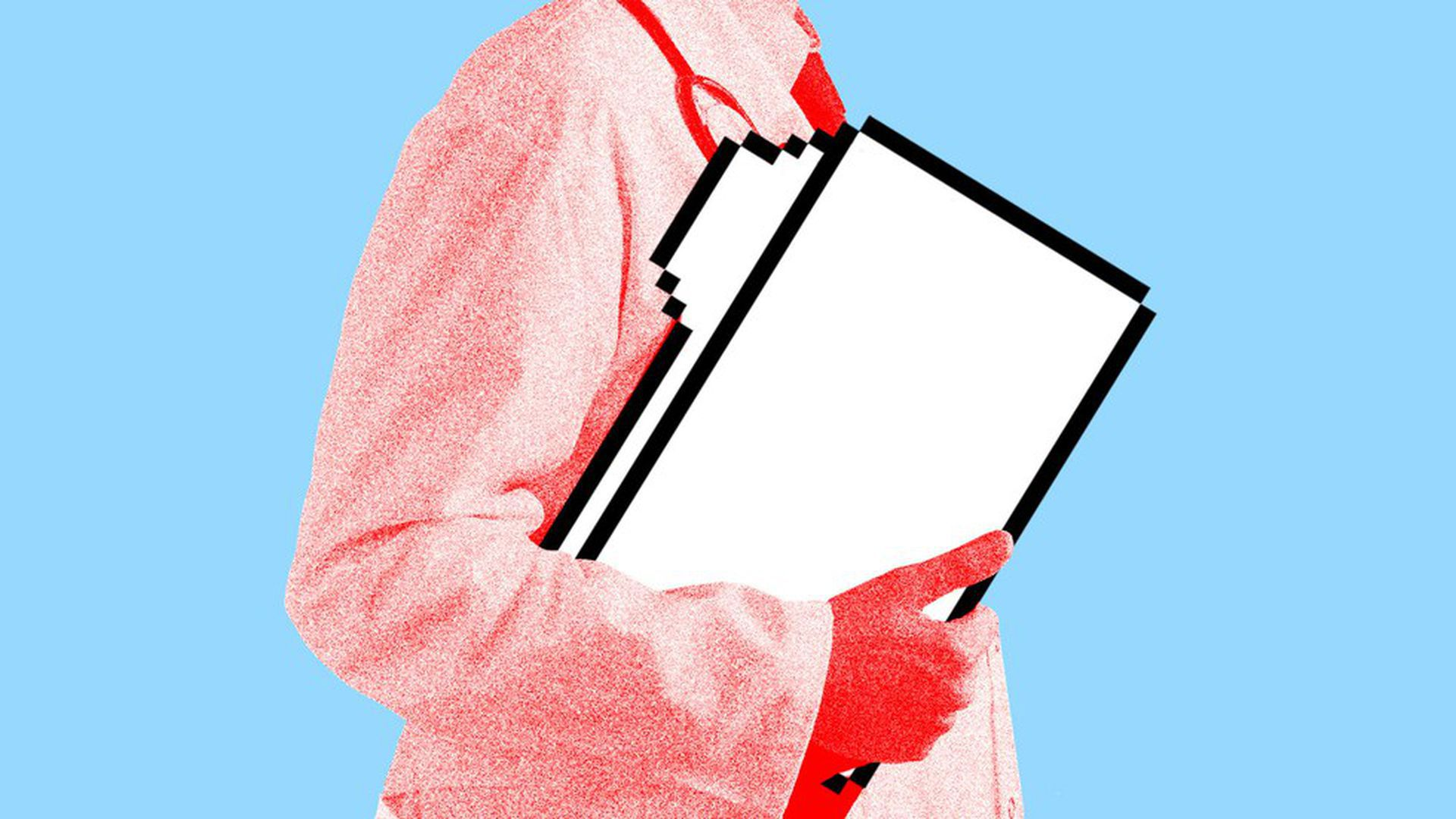 Illustration of a doctor carrying a file folder icon