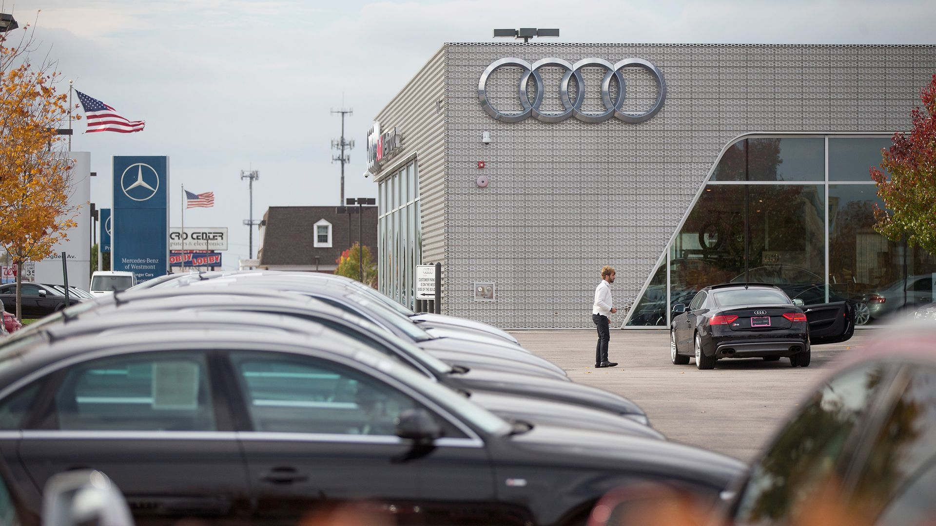 An Audi car dealership.