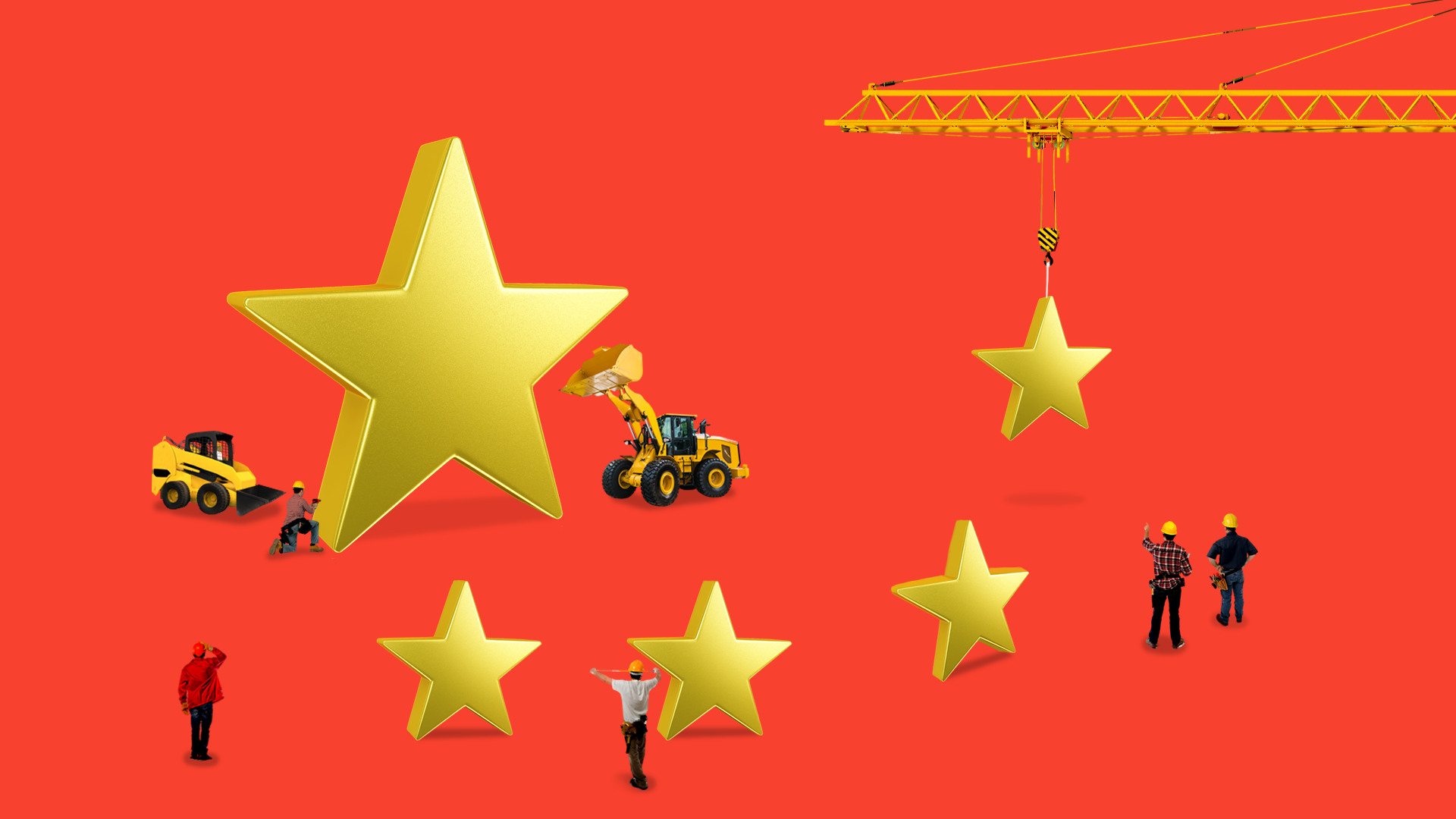 Illustration of the Chinese flag with construction crews working on it
