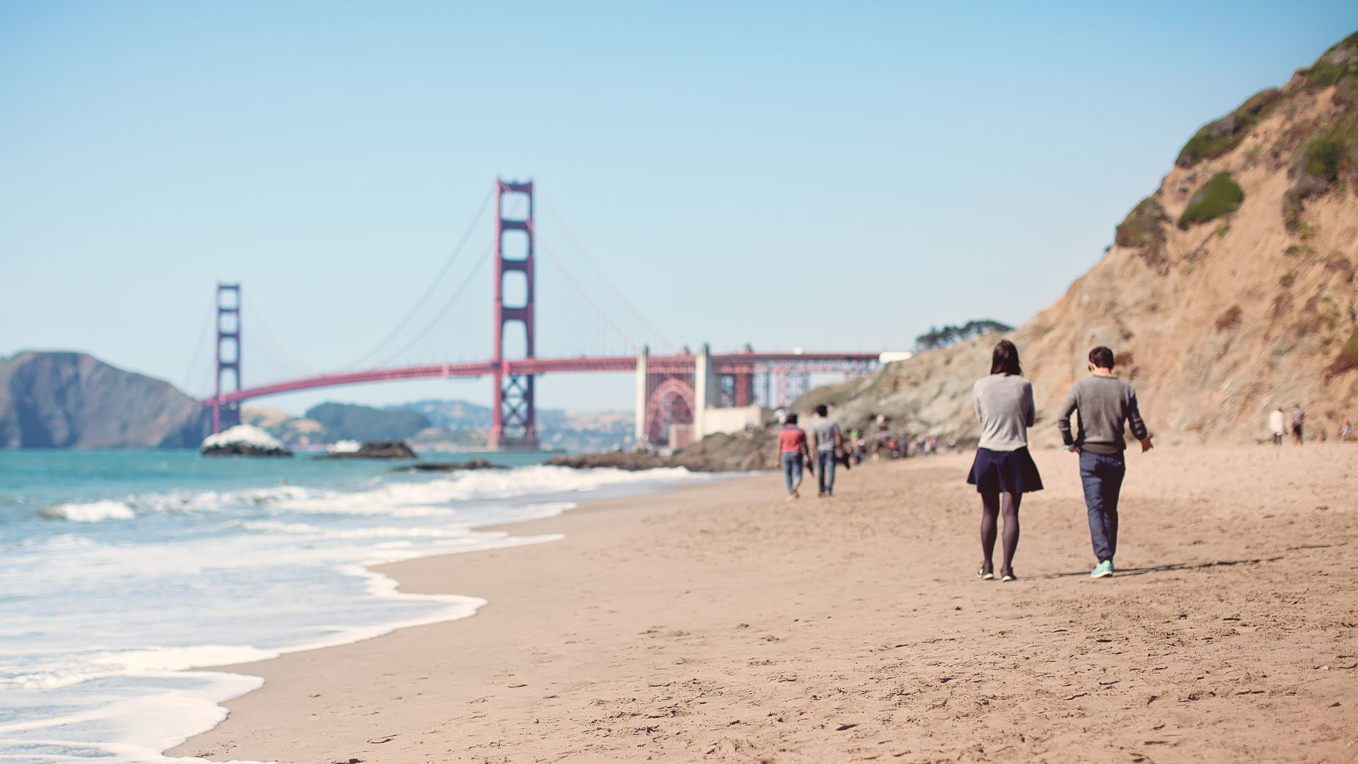 A view of the Golden Gate Bridge from Baker Beach in San Francisco.