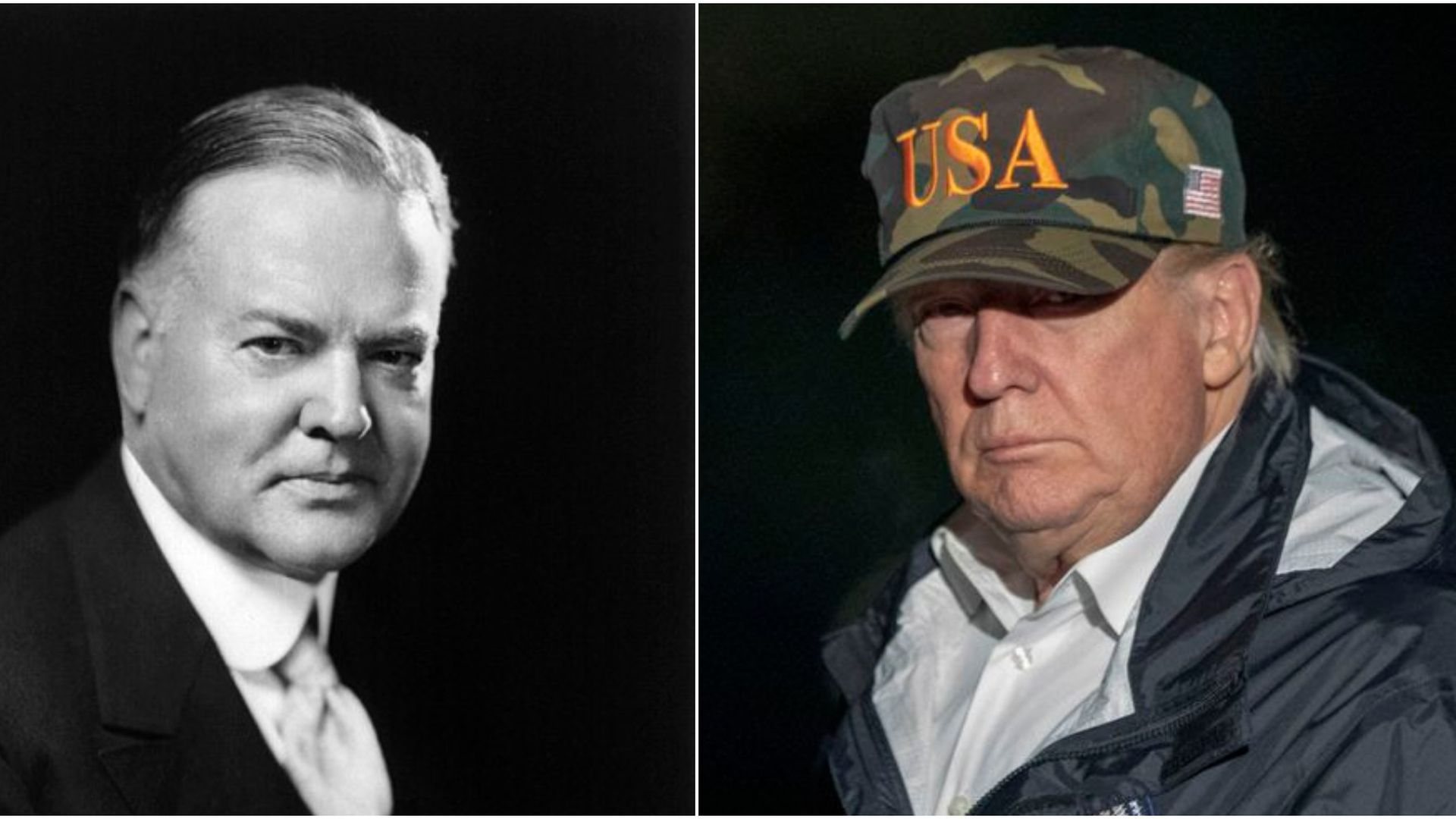 On the left, Herbert Hoover. On the right, Donald Trump