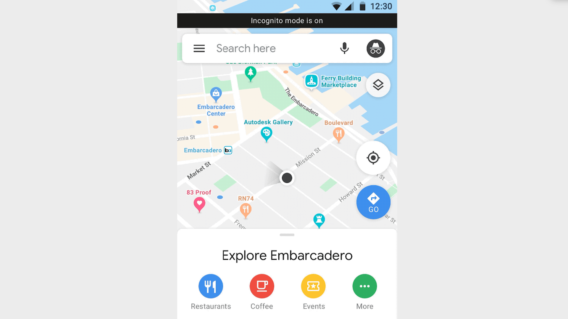 An image of Google Maps' new incognito mode