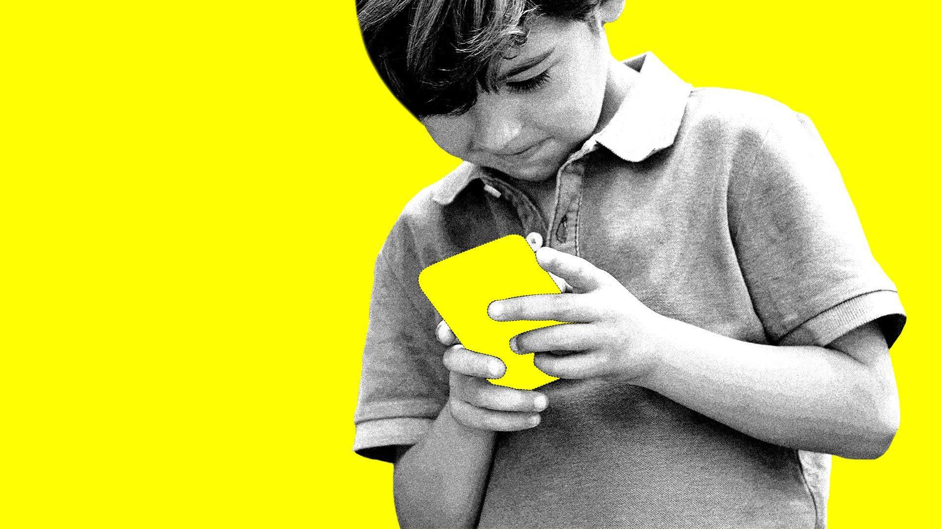 An illustration of a kid playing on a smartphone