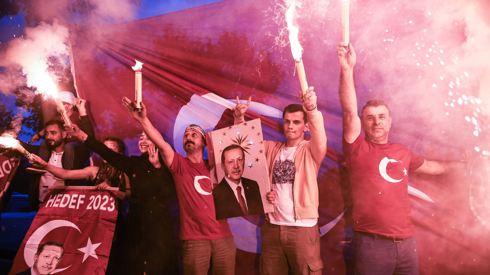 Erdogan's supporters celebrate outside the AK party headquarters on June 24, 2018 in Istanbul, Turkey.