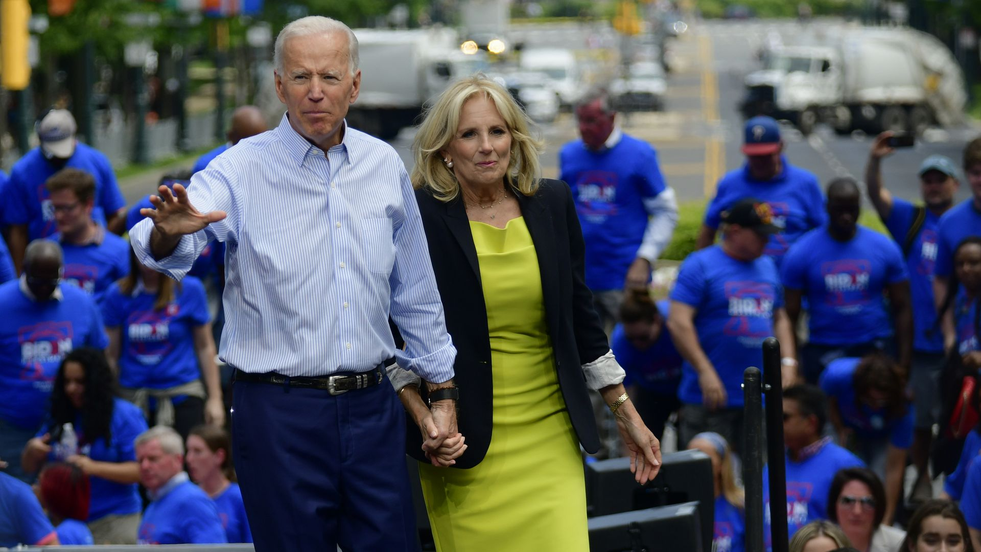 Philadelphia Joe and Jill Biden share the stage as former Vice President kicks off his 2020 campaign at an outdoor rally on the Benjamin Franklin Parkway in Philadelphia