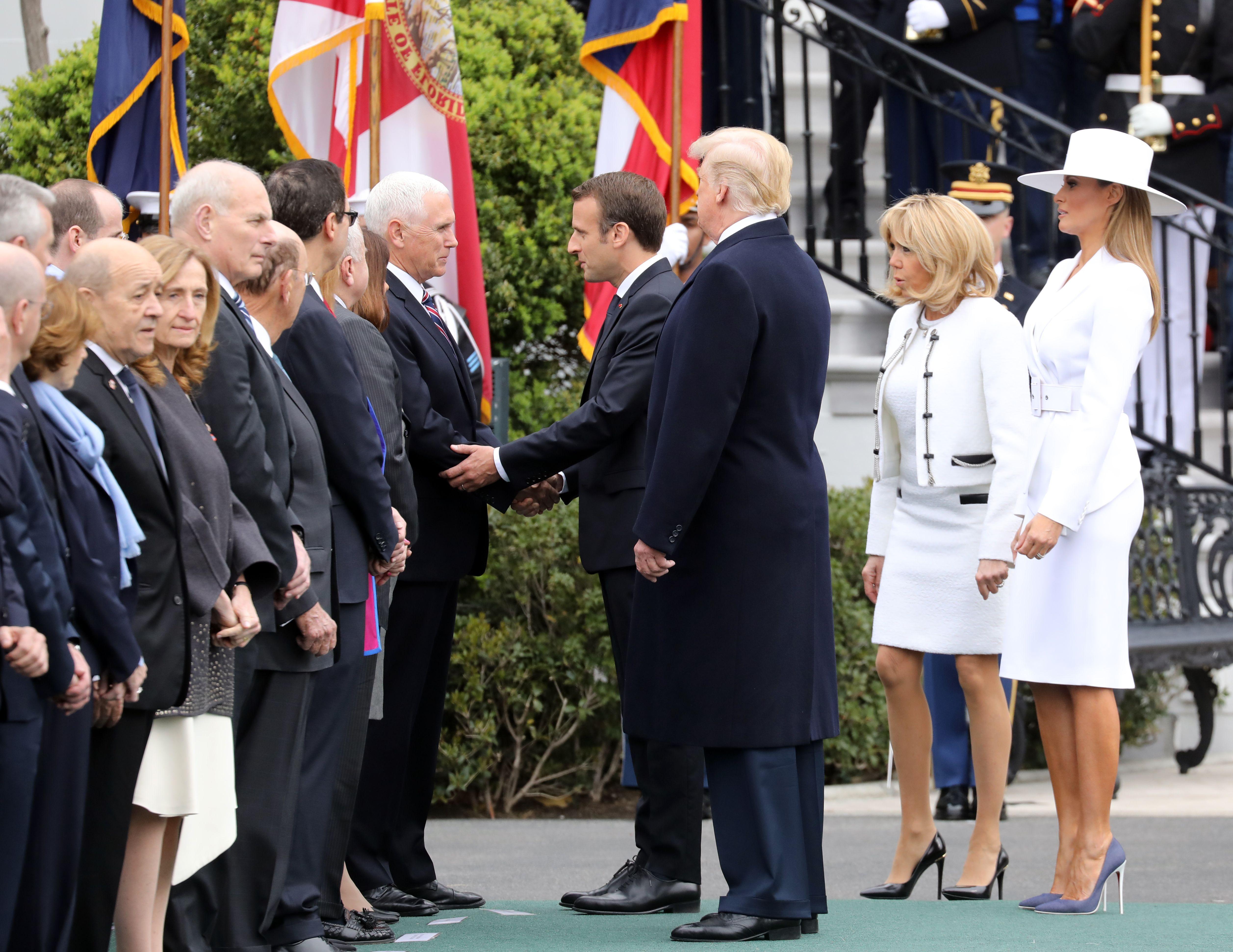 Emmanuel Macron and Vice President Mike Pence