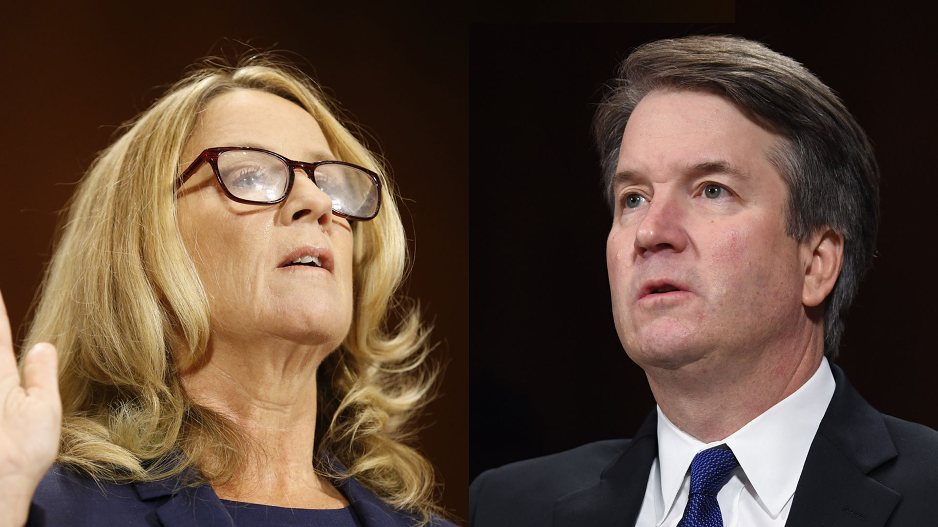 A split image of Christine Blasey Ford raising her hand to swear under oath and Brett Kavanaugh speaking with a serious expression