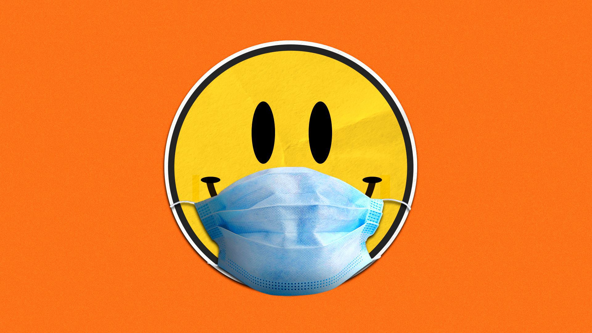 Illustration of a smiley face sticker wearing a face mask