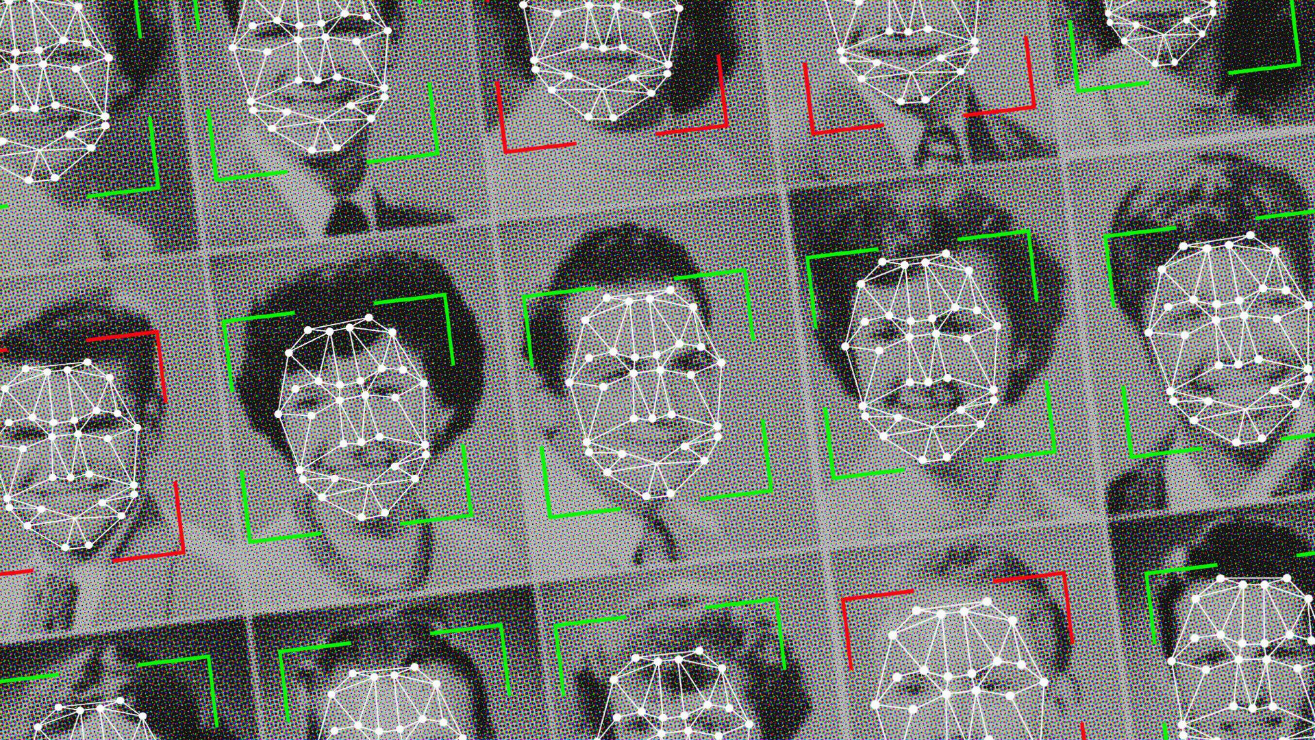 a grid of school yearbook–style photos with cropping squares around each face