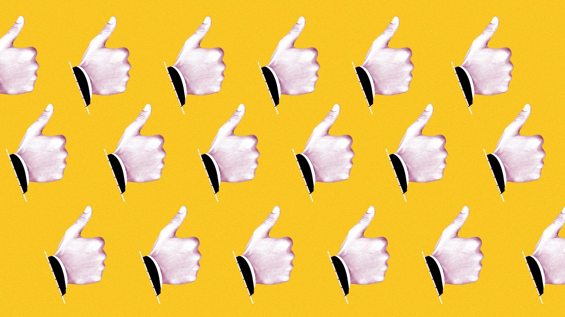 Illustration of thumbs up pattern.