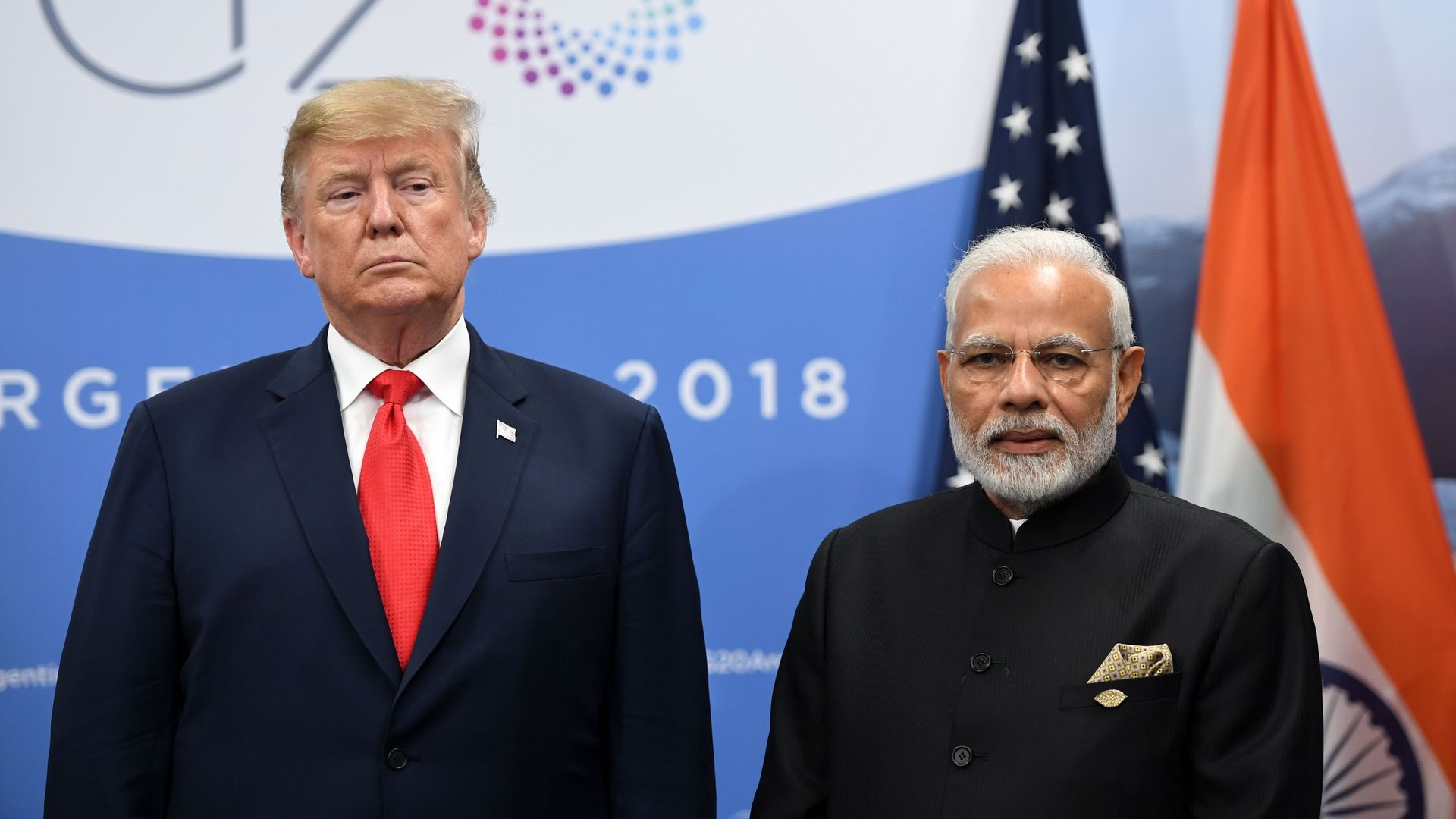 India's Prime Minister Narendra Modi (R) and US President Donald Trump during a meeting in the sidelines of the G20 Leaders' Summit in Buenos Aires, on November 30, 2018.