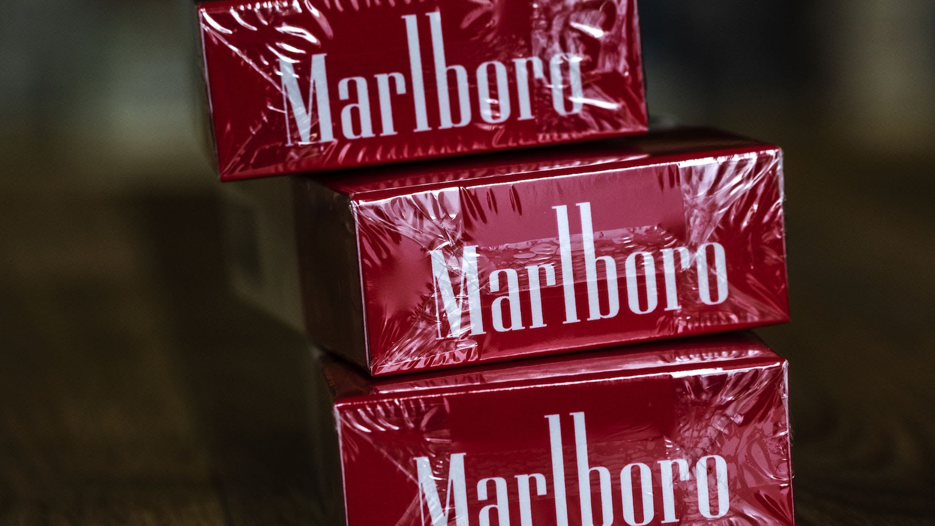 Marlboro cigarettes staked on top of each other