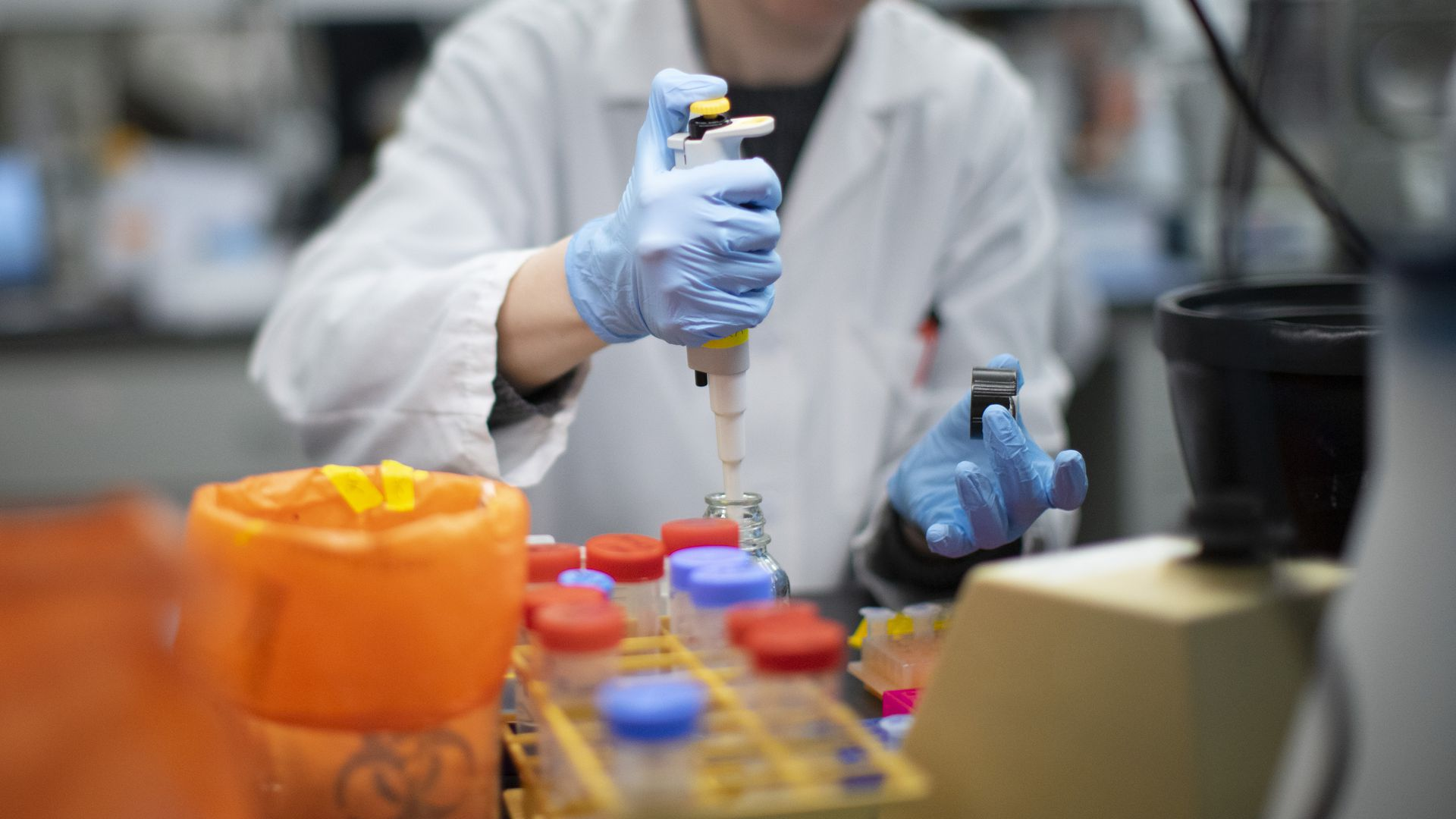 A lab runs coronavirus tests