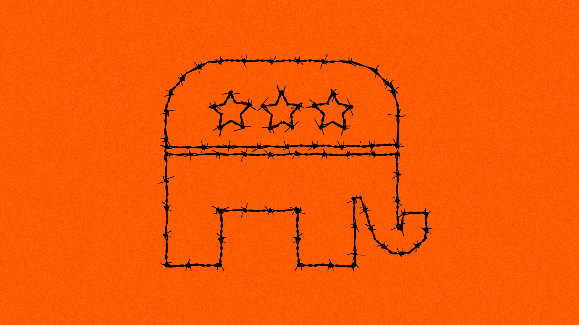 An illustration of a Republican elephant made out of barbed wire
