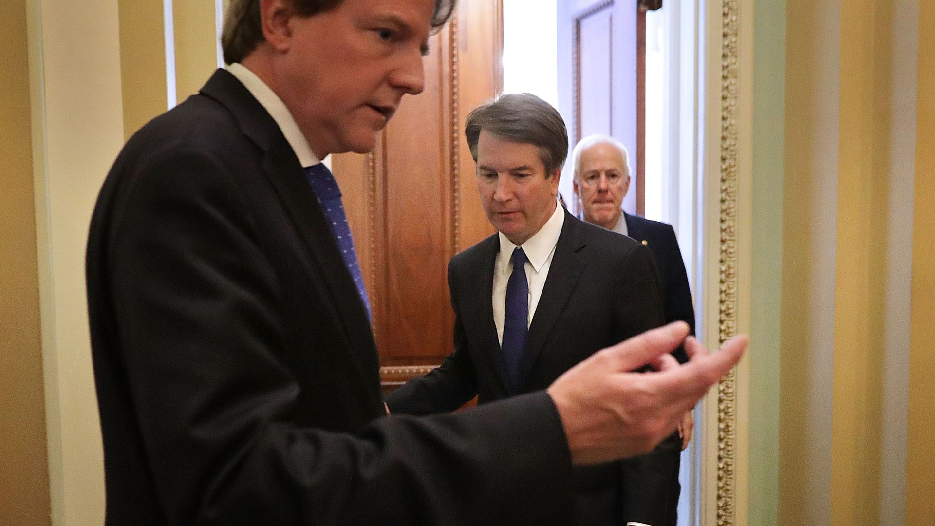 White House Counsel Don McGahn, Judge Brett Kavanaugh and Senate Majority Whip John Cornyn (R-TX). Photo: Chip Somodevilla/Getty Images