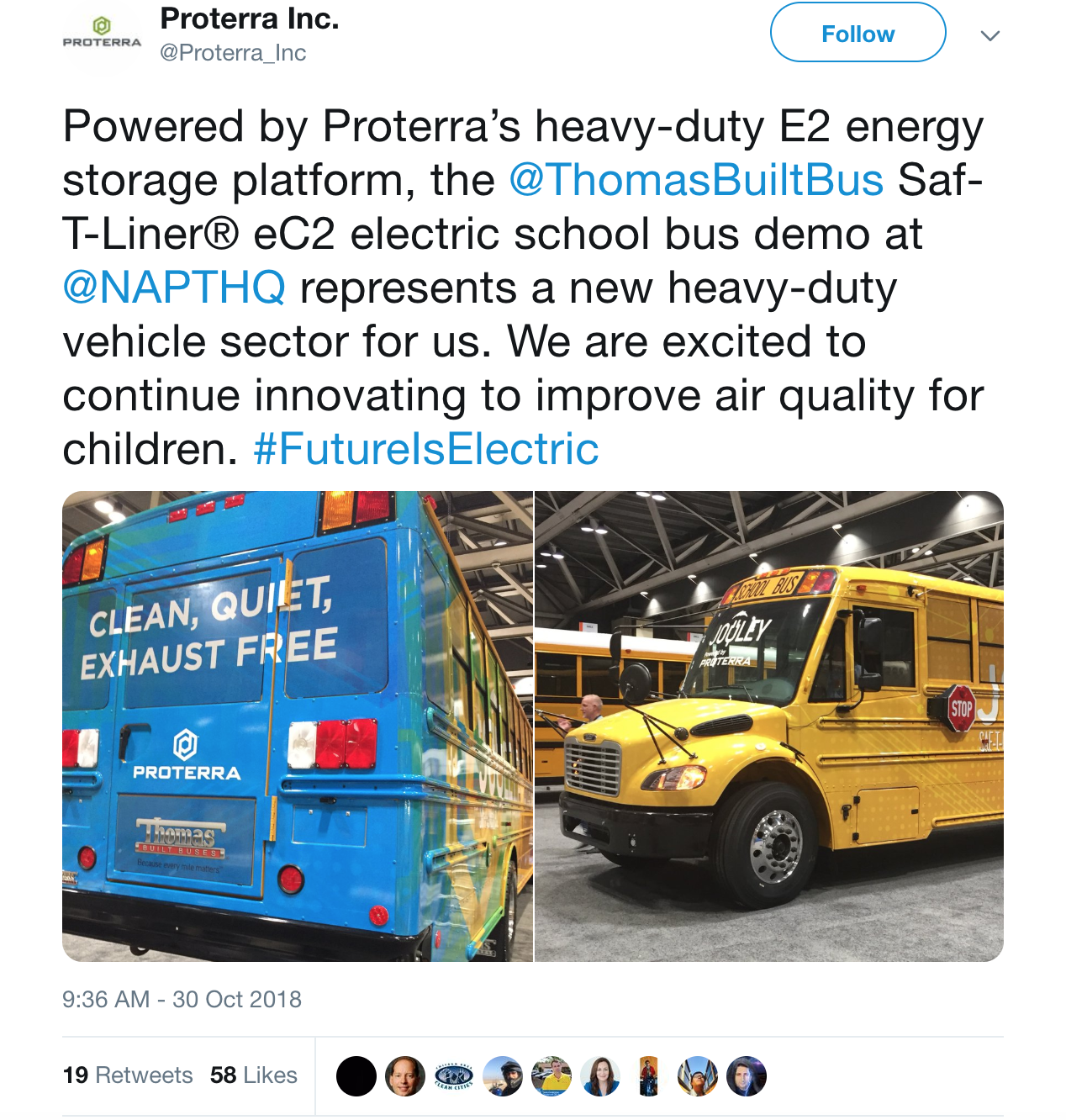 Tweet screenshot from Proterra on new electric school buses