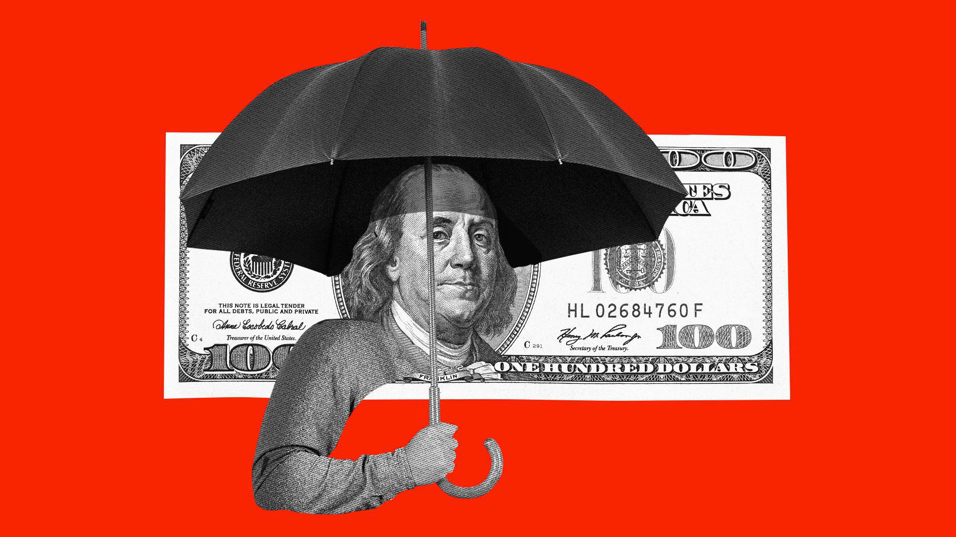Benjamin Franklin holding an umbrella on a $100 bill, in front of a red background.