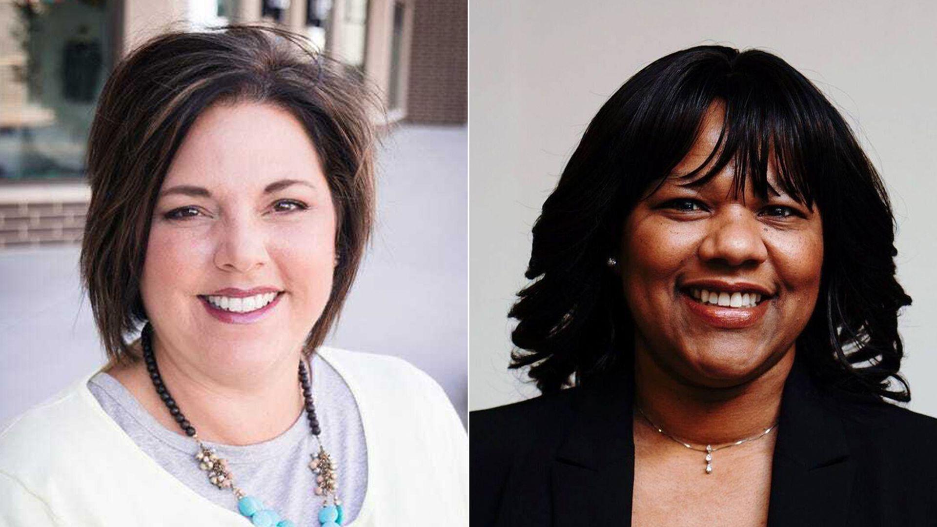 A headshot of Ankeny School Board member Lori Lovstad, next to a headshot of Monic Behnken, outgoing Ames School Board member.