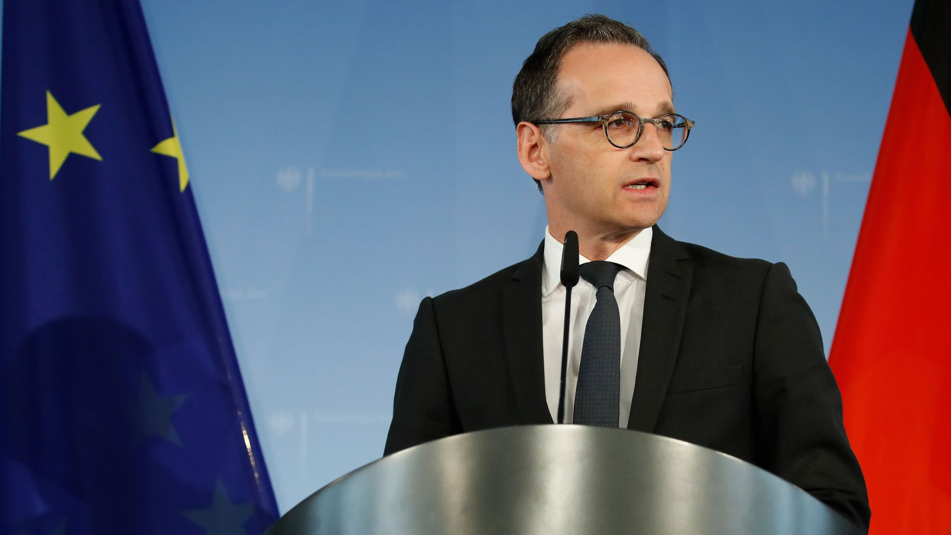 German Foreign Minister Heiko Maas gives a statement on May 9, 2018 in Berlin after President Trump pulled the United States out of a landmark deal curbing Iran's nuclear program.