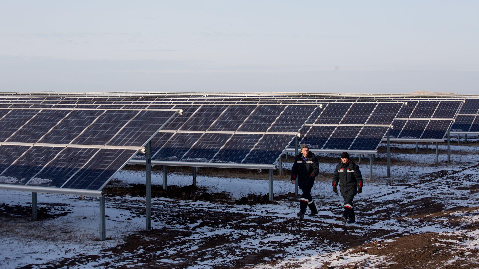 Workers walking near solar panels