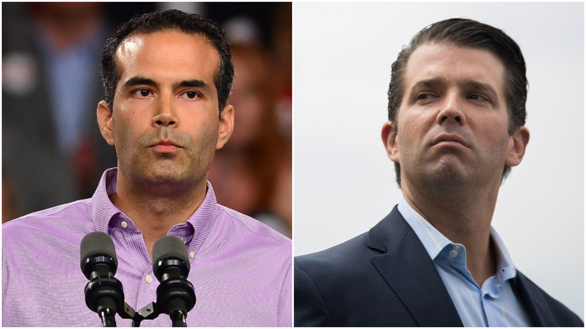 Close ups of George P. Bush on the left, and Donald Trump Jr. on the right