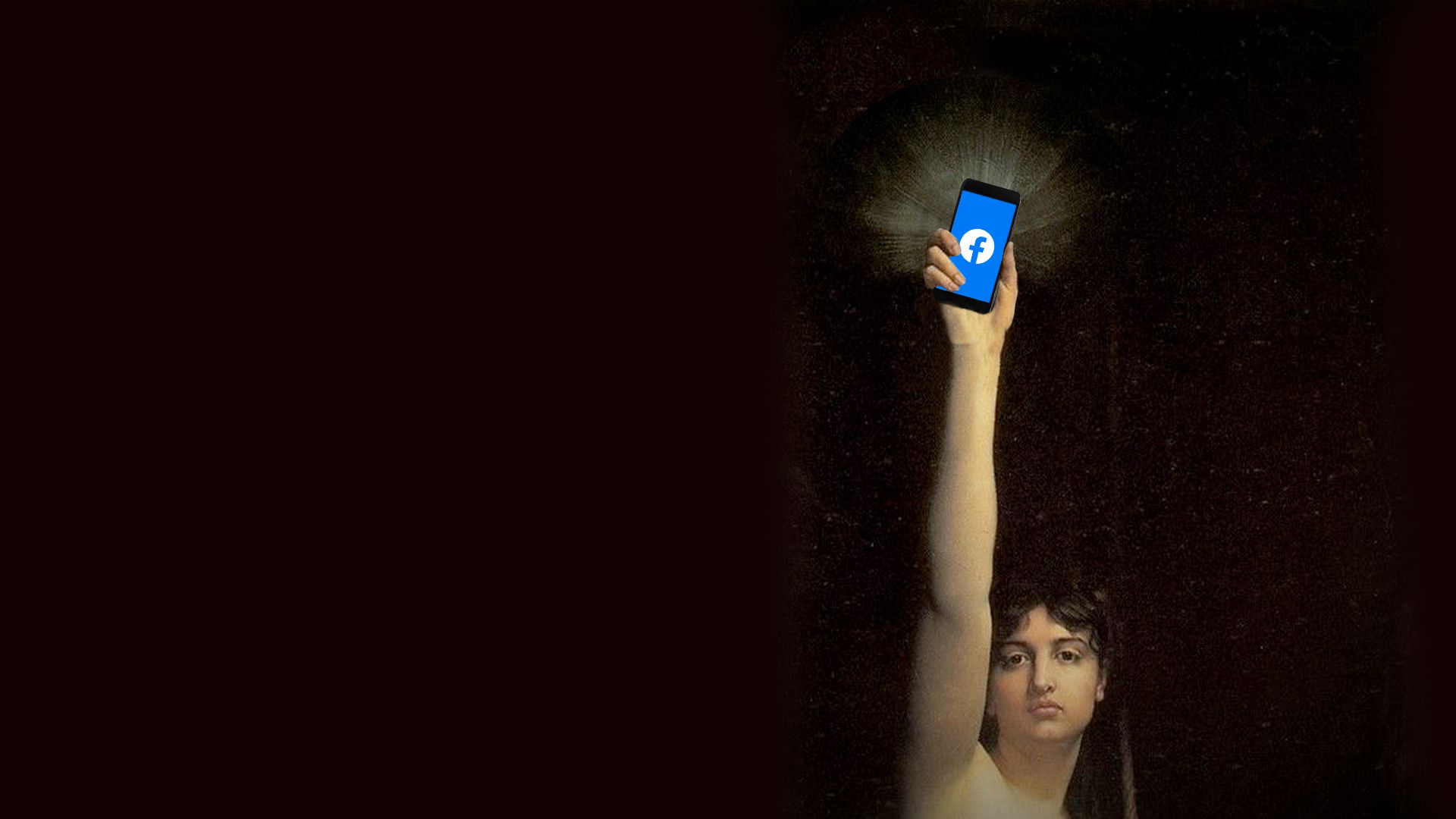 Illustration of La Verité by Jules Joseph Lefebvre holding a mobile phone with the Facebook logo in place of her mirror