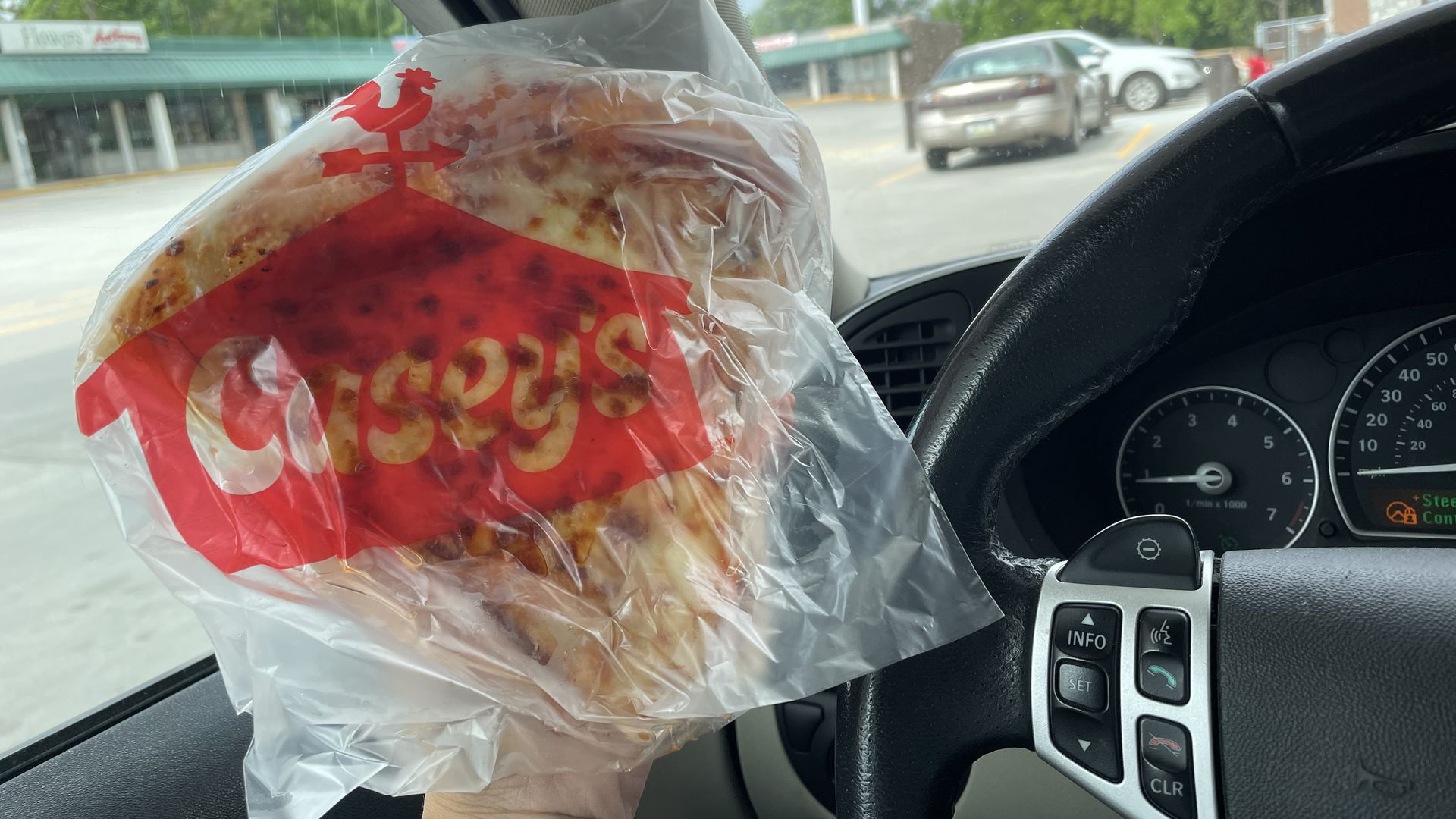 Cheese pizza in a bag from Casey's.