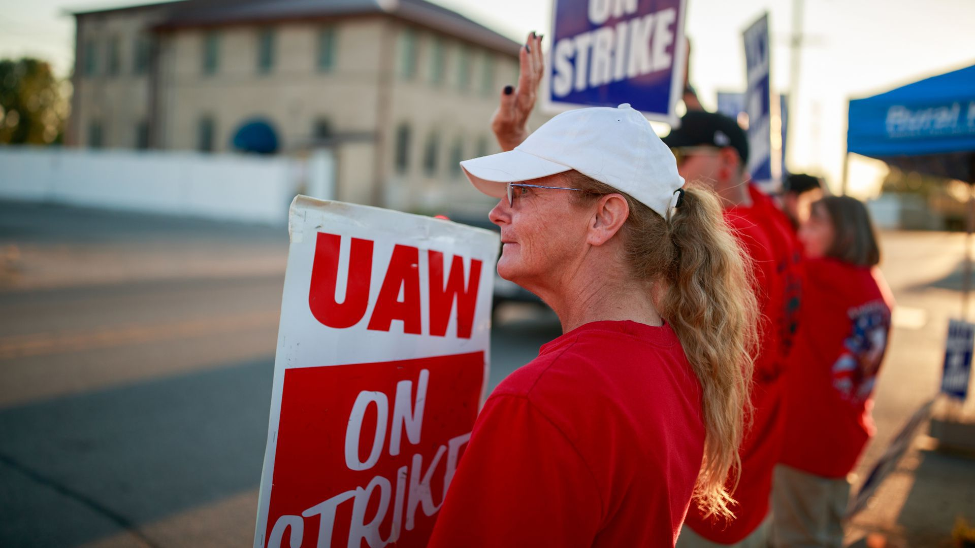 Striking GM workers at a powertrain plant in Bedford, Ind.