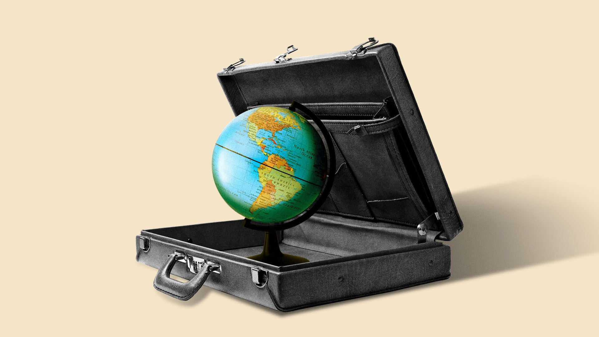 Illustration of an open briefcase with a globe inside.