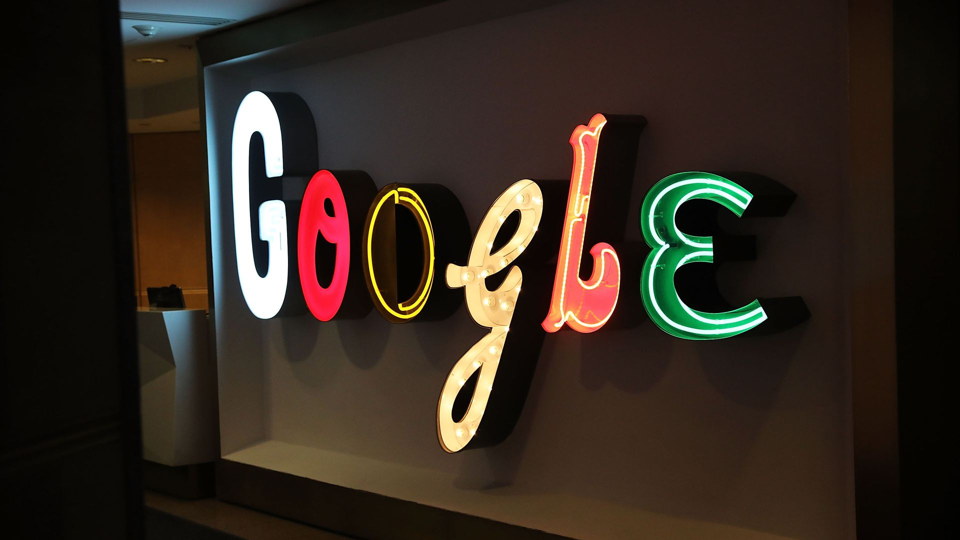 A Google logo sign