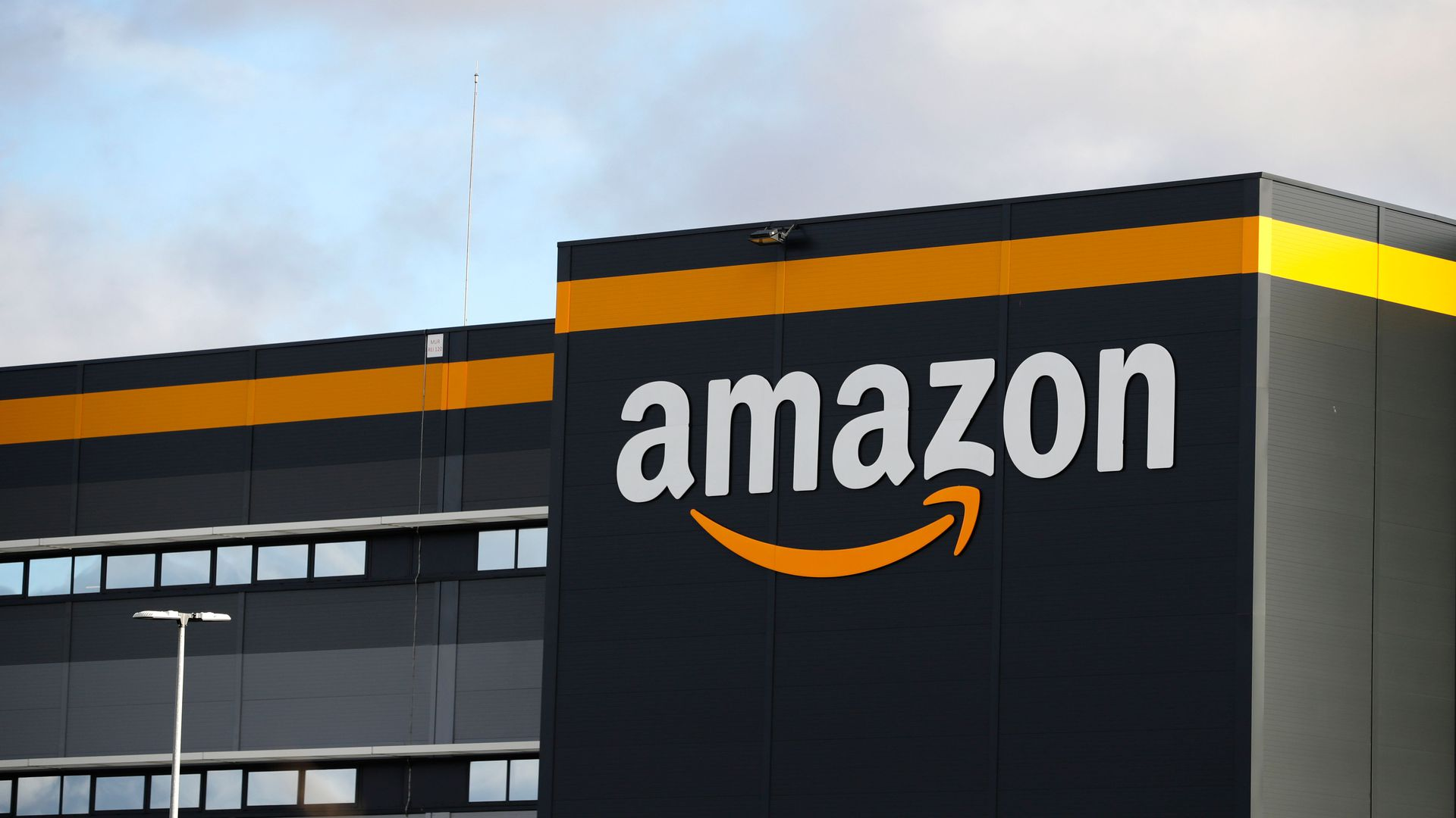 Amazon logo at one of the company's centre in Bretigny-sur-Orge