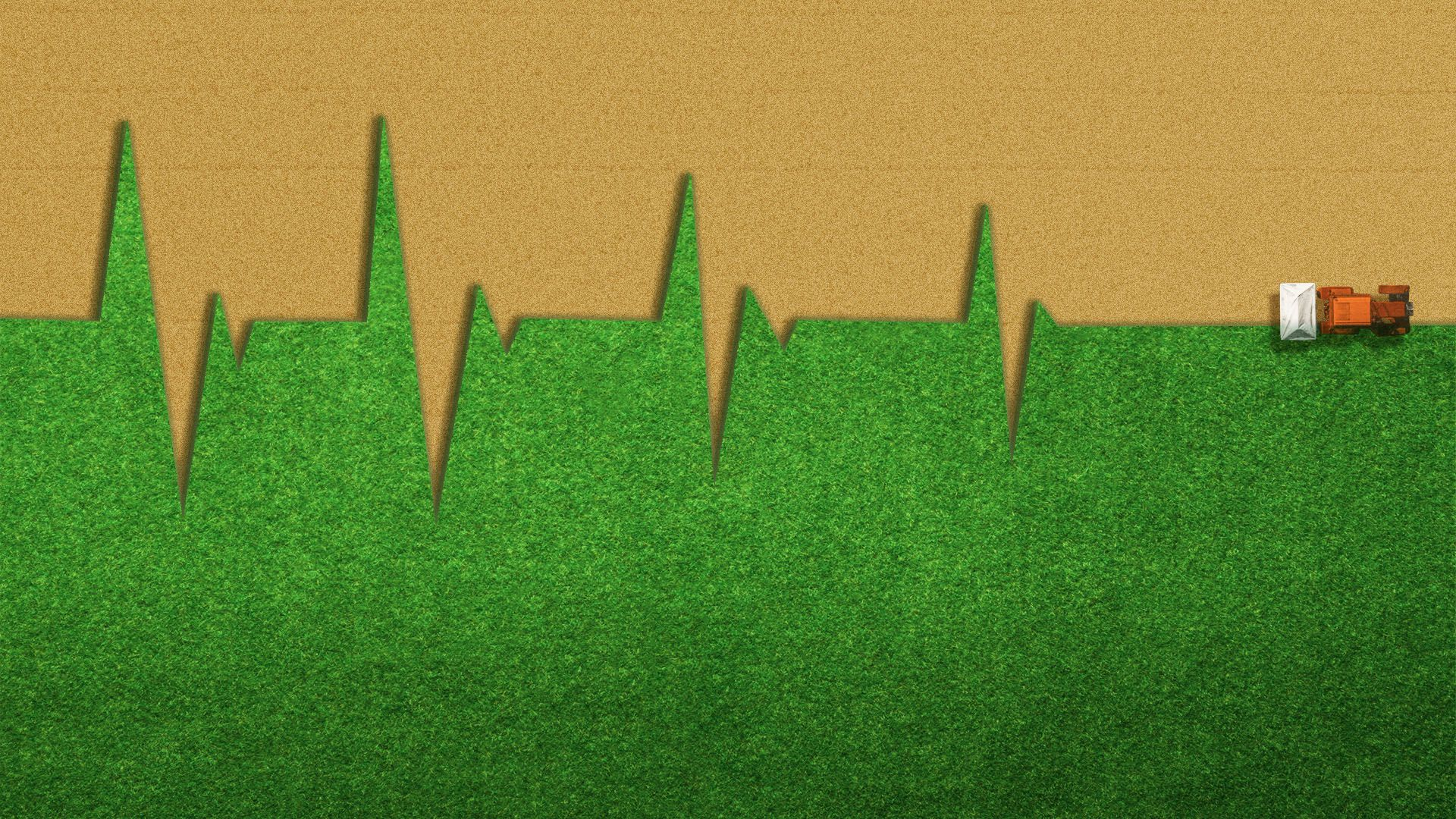 Illustration of a tractor plowing a field in the shape of a heart monitor that is petering out