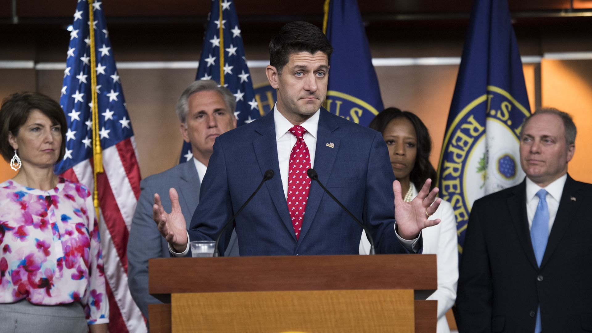 Paul Ryan speaking at a podium with his hands in the air and his bottom lip jutted out