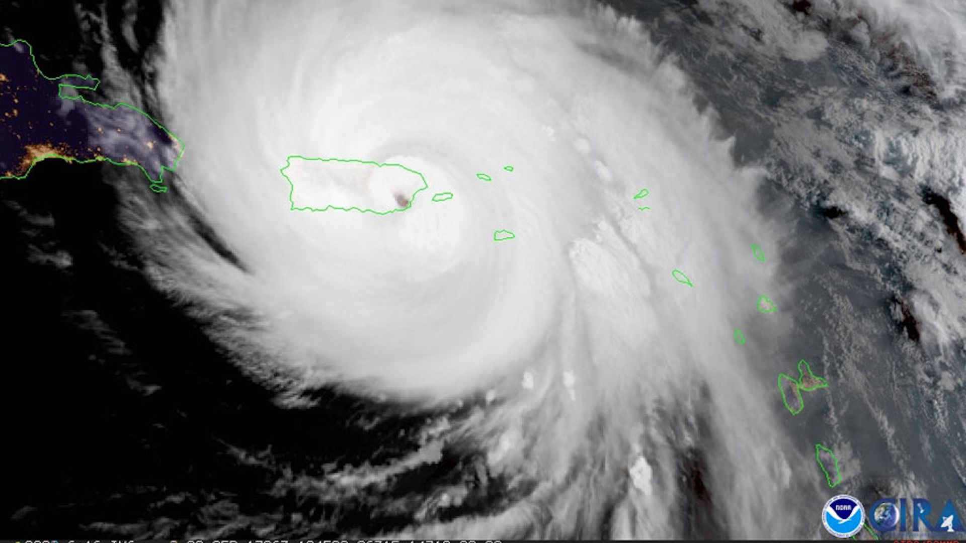 Satellite image showing Hurricane Maria striking Puerto Rico as a Category 4 hurricane in September 2017.