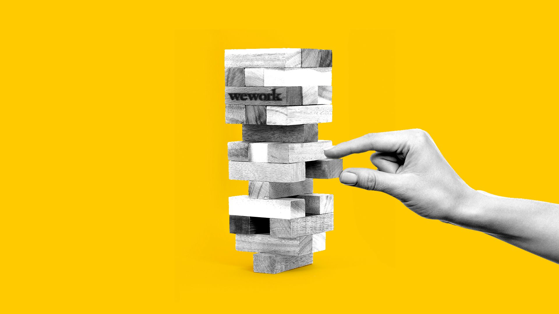 In this illustration, the WeWork logo is on a Jenga piece that balances precariously as someone removes a Jenga block underneath it.