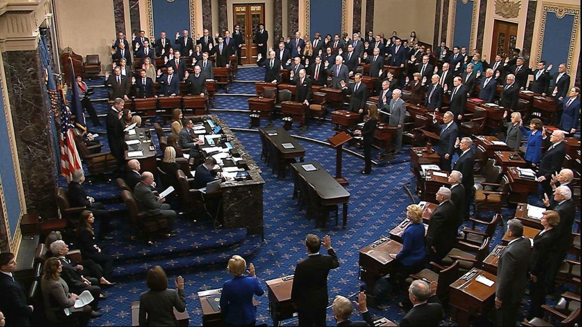 "Trump impeachment trial opens with senators' vow to deliver ""impartial justice"""